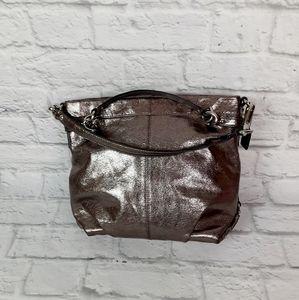 Coach Brooke bronze metallic satchel bag